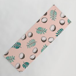 Little coconut garden summer surf palm leaves pink Yoga Mat