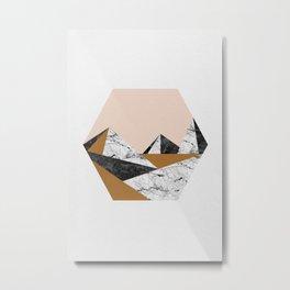 Geo Landscape Hexagon Metal Print