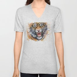 Tiger Watercolor Animal Painting Unisex V-Neck