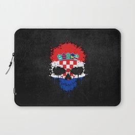 Flag of Croatia on a Chaotic Splatter Skull Laptop Sleeve