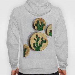 4 cactus wood disk painting Hoody
