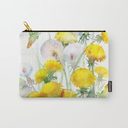 Watercolor yellow flowers dandelions Carry-All Pouch
