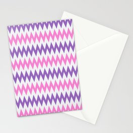 Artistic Love Chevron Pattern Inspired with 50s, 60s, 70s Design - Pink and Purple Stationery Cards
