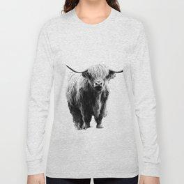 Newspaper Print Style Highland Cow. Scotland, Bull, Horns. Long Sleeve T-shirt