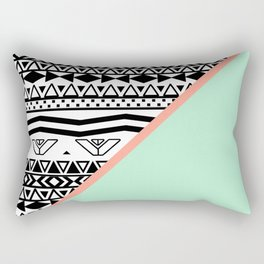 Block | Black White Aztec Pattern Mint Green Color Block Rectangular Pillow