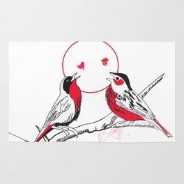 Loving red black birds Rug