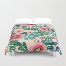 Colorful Tropical Vintage Flowers Abstract Duvet Cover