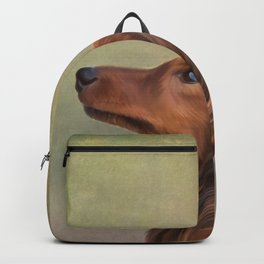 Dog breed long haired dachshund portrait oil painting Backpack