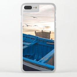 Blue Boat - Essaouira, Morocco Clear iPhone Case