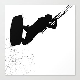 Up Up And Away Kiteboarder Silhouette Canvas Print