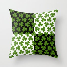Green Shamrocks Pattern on Black and White Throw Pillow