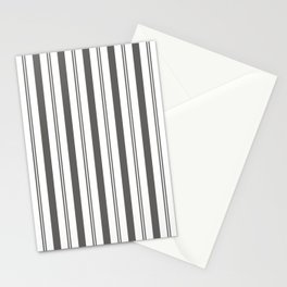 Pantone Pewter Gray & White Wide & Narrow Vertical Lines Stripe Pattern Stationery Cards