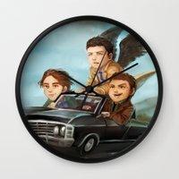 supernatural Wall Clocks featuring Supernatural by RAVEFIRELL