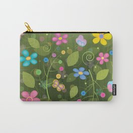 Floral and Butterfly Pattern - Summer Blooms Carry-All Pouch