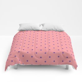 Purple Dots with Coral Pink Background Comforters