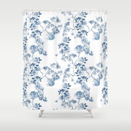 Chinoiserie in White Shower Curtain