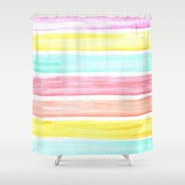 Pastel Watercolor Stripes Shower Curtain