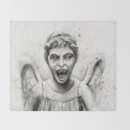 Weeping Angel Watercolor Throw Blanket