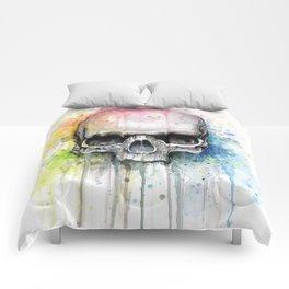 Skull Rainbow Watercolor Comforters