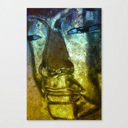 Buddha Face blueyellow Canvas Print