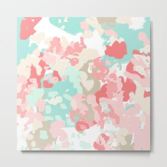 Florence - abstract trendy colors gender neutral seaside coral tropical minimal mermaids Metal Print