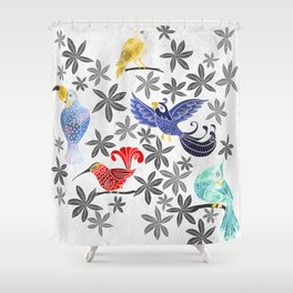 Rainforest Birds in Watercolor Shower Curtain