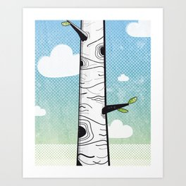 White Birch Art Print