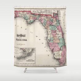 Vintage Map of Florida (1873) Shower Curtain