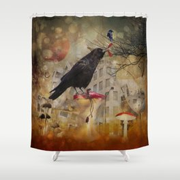 Raven in a City Shower Curtain