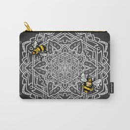 Bee Dance Mandala A - White Carry-All Pouch
