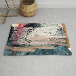 Kelly: a bold, textured, abstract mixed media piece in bright pinks, blues, and white Rug