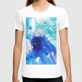 Modern Abstract Art - Blue Marble by Sharon Cummings T-shirt
