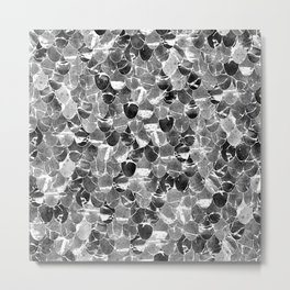 Black and White Abstract Mermaid Scales Pattern Metal Print