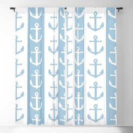 Nautical Sailor Stripes with Anchor Pattern Pale Blue 241 Blackout Curtain