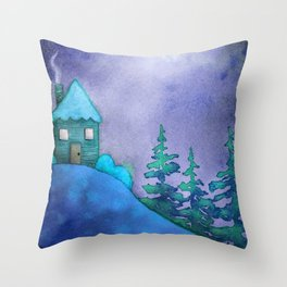 Winter Cabin in the Woods - Blue Moon Art Print Throw Pillow