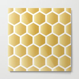Honeycomb pattern - gold Metal Print