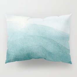Sunrise in the mountains, dawn, teal, abstract watercolor Pillow Sham