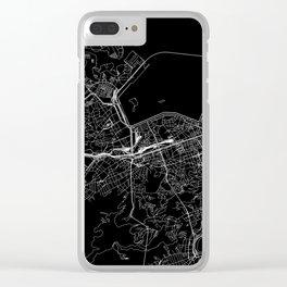 Rio De Janeiro Black Map Clear iPhone Case