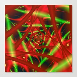 Red and Green Filament Spiral Canvas Print