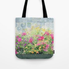 Dreamy Confetti Flower Basket Bouquet -- Whimsical Painterly Abstract Tote Bag