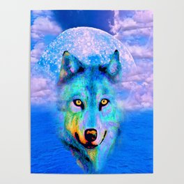 Wolf Moon and the Deep Blue Sea Poster