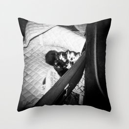Irish Kittens Snuggling Together in the Barn - Holga Film Photograph Throw Pillow