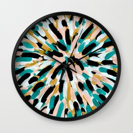 Teal, Pink, and Gold Paint Burst Wall Clock