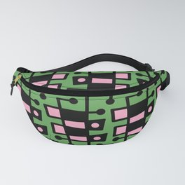 Mid Century Modern Abstract 212 Green and Pink Fanny Pack