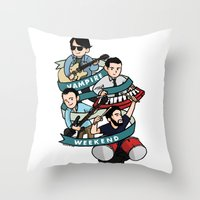 vampire weekend Throw Pillows featuring Vampire Weekend by Knifeson