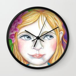 Bella Little Girl Portrait with Flowers in her hair Wall Clock
