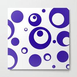Circles Dots Bubbles :: Blueberry Inverse Metal Print