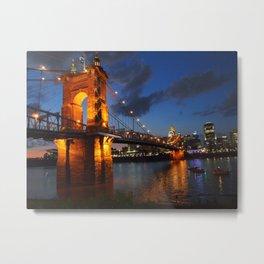 Cincinnati Skyline of Roebling Suspension Bridge at Sunset Metal Print