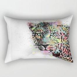 Cool leopard animal watercolor splatters abstract paint Rectangular Pillow