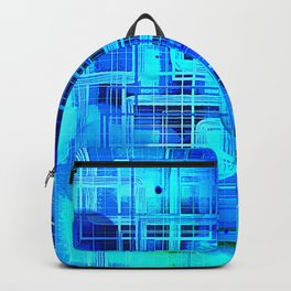Vibrant Blue and Turquoise Line Abstract Backpack